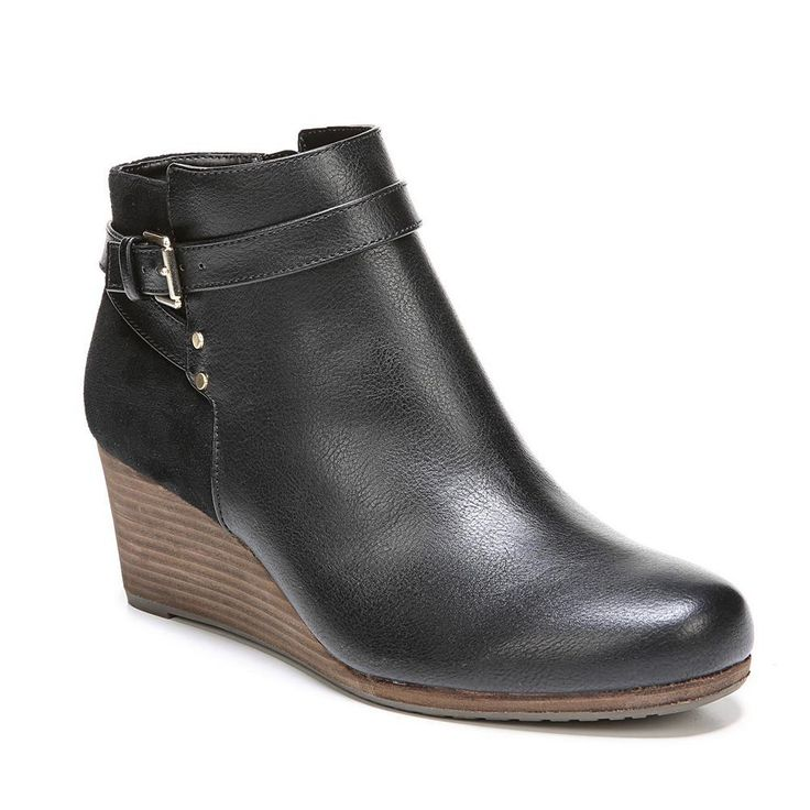 Dr. Scholl's Double Women's Wedge Ankle Boots, Size: medium (6.5), Black