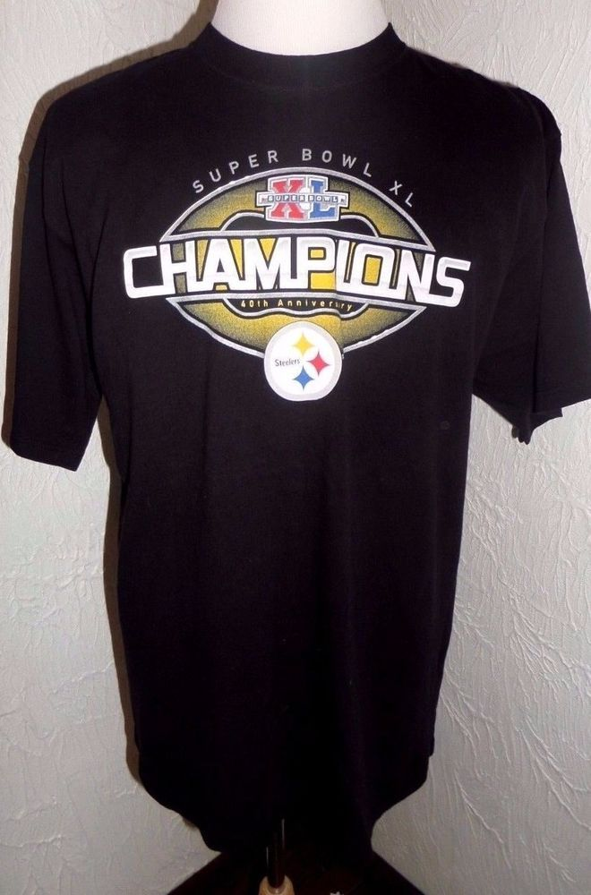 Pittsburgh Steelers Super Bowl XL Champions Official T-shirt 2006 WITH ROSTER GC #Reebok #PittsburghSteelers