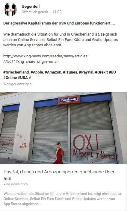 Je suis Greek !  #Greece #tsipras #apple #amazon #itune #paypal #usa #eu #grexit #merkel #kapitalismus #finanzmarkt #bankster #banken #boerse #ratingagenturen #politik