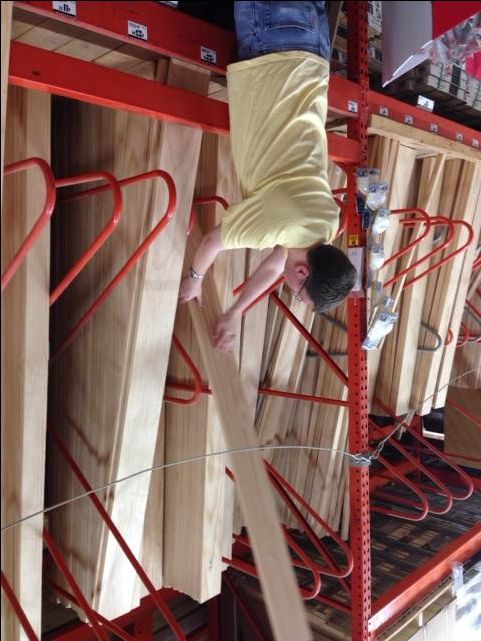 Buying Southern Cross radiata select Pine Board at Home Depot for DIY DVD Shelves
