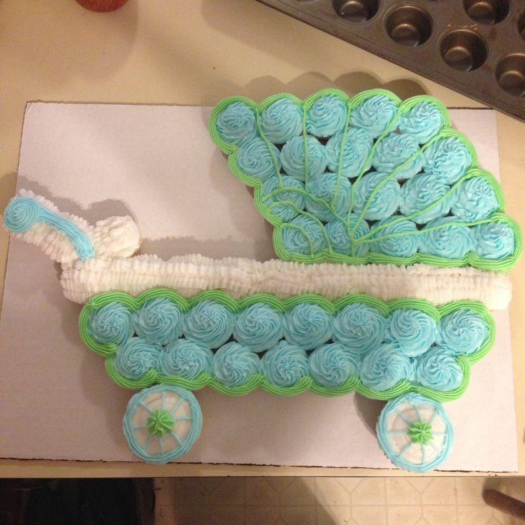 Cupcake Baby Buggy Boy Shower Cake | cupcake baby carriage cake | Mini cupcake baby carriage | cakes ...