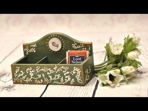 Decoupage krok po kroku - pojemnik na herbatę - YouTube