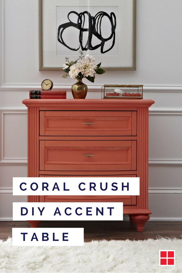 Color has the power to define a piece of furniture. Take this small dresser for example. By spray painting it this popping shade of coral, we took it from standard piece of bedroom furniture to chic living room accent table. A transformation like this one is surprisingly simple, and with Ultra Cover 2x Gloss Spray's 30+ vibrant colors, you'll have complete control over the statement your new accent piece makes.