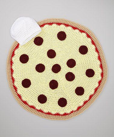 JWhiz Crochet White Chef Hat & Pepperoni Pizza Blanket ...