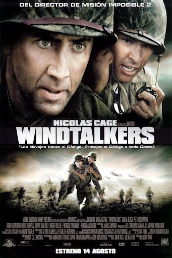 Windtalkers is a 2002 action war film. Nicolas Cage and Christian Slater star as two US Marine sergeants assigned to protect Navajo code talkers (Adam Beach and Roger Willie) in Saipan during World War II. The Navajo code was based on two parts: 1) the Navajo language (difficult to learn or to understand); and 2) a code embedded in the language, meaning that even native speakers would be confused by it. The code was critical to America's success against Japan in the war and was never broken.