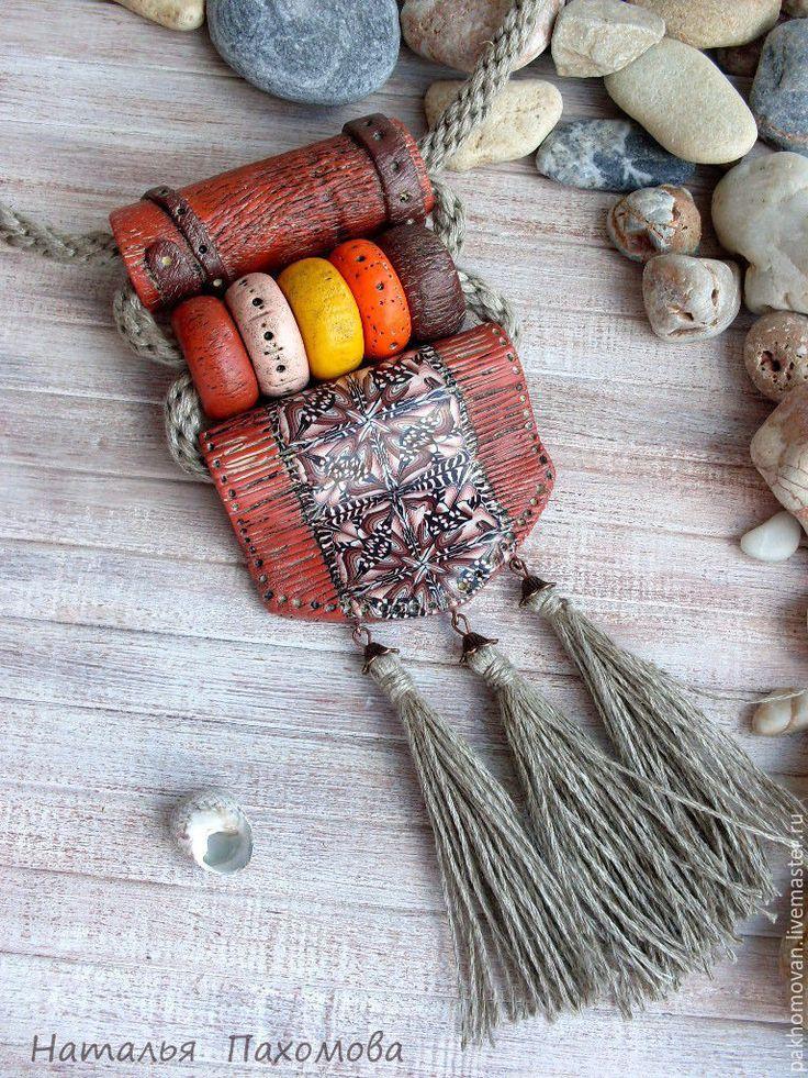 Купить Кулон из полимерной глины Мексиканские мотивы. Авторское украшение. - кулон из полимерной глины