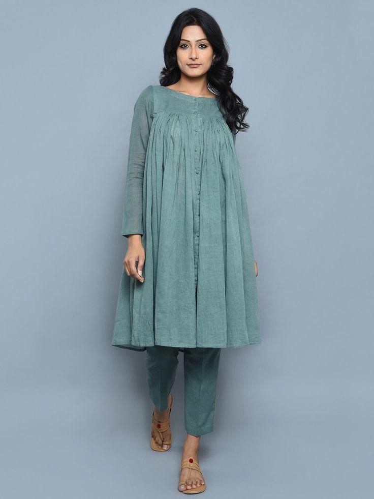 Teal Green Cotton Kedia Style Kurta with Pants - Set of 2