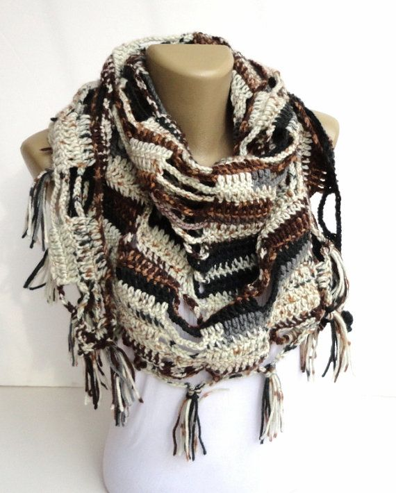 Mothers day gifts fall color crochet scarf shawl by senoAccessory, $35.00