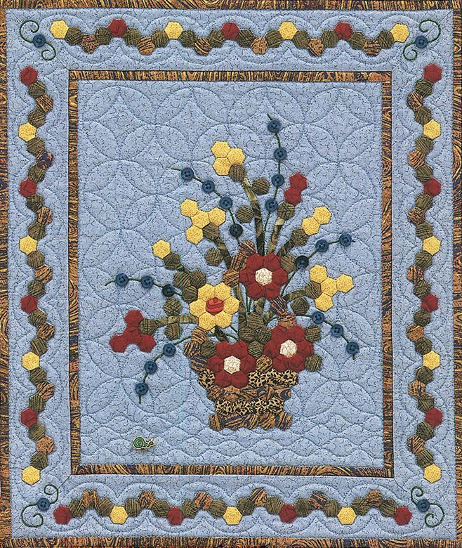 Friendship Basket of Buttons and Blooms quilt