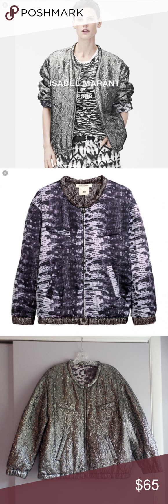 """Isabel Marant Reversible Metallic Bomber Jacket Gorgeous pewter Metallic zip up bomber jacket that reverses to a purple silk snakeprint pattern. Generous fit, would fit 12/14. Measures 25"""" across bust, and 25.5"""" in length. Great condition, just a little too big for me Isabel Marant pour H&M Jackets & Coats"""