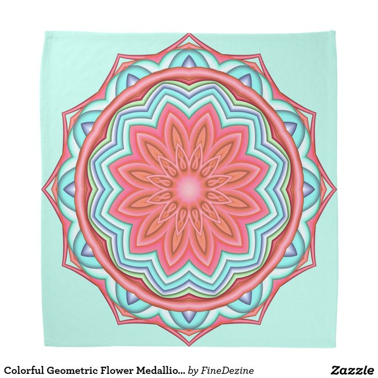 Colorful Geometric Flower Medallion Bandana