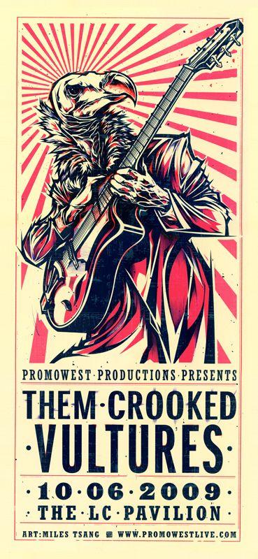 Them Crooked Vultures - gig poster - Miles Tsang