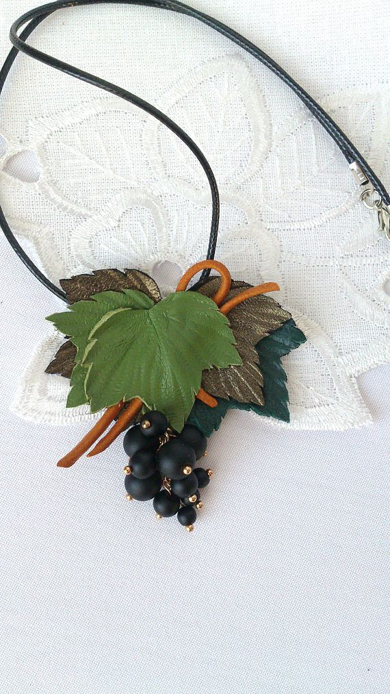 Holiday jewelry natural leather berry necklace gifts for