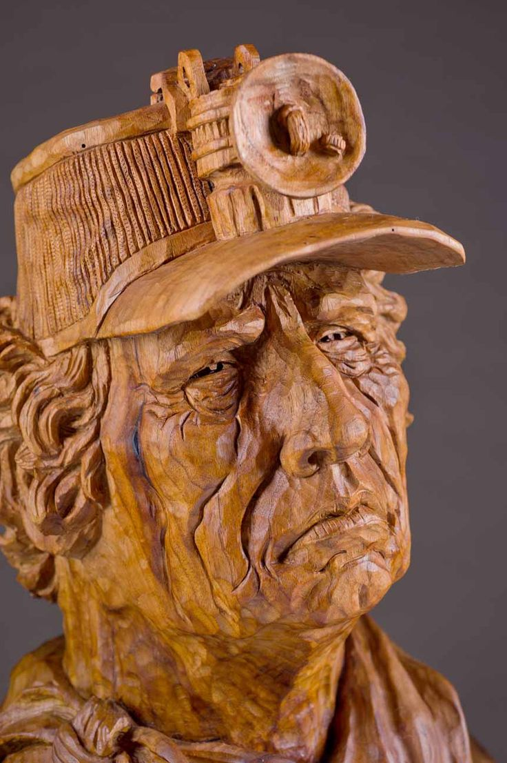 Miner wood carving by vic hood franklin tn