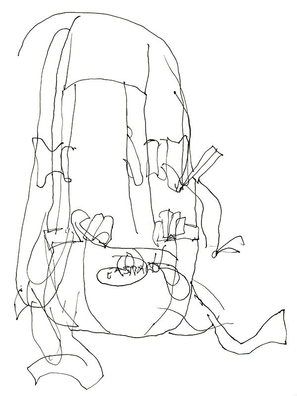 Blind Contour Line Drawing Tutorial : Blind contour drawing of an eastpak backpack