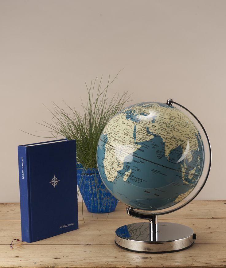 French Blue Globe Lamp : The world is your oyster with this light up globe. Track where you have been or plan your next big adventure all from the comfort of your home.With a colour palette of duskyblue and soft cream, this light up globe omits a muted glow, illuminating the worlds continents in style. A fantastic focal feature for both traditional and contemporary interiors.