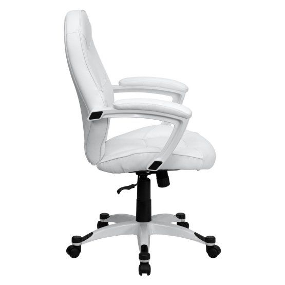 Flash Furniture Mid-Back Executive Office Chair - White Leather