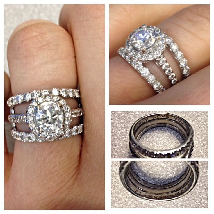 Engagement Ring And Wedding Bands Halo Cathedral Setting Bands Are