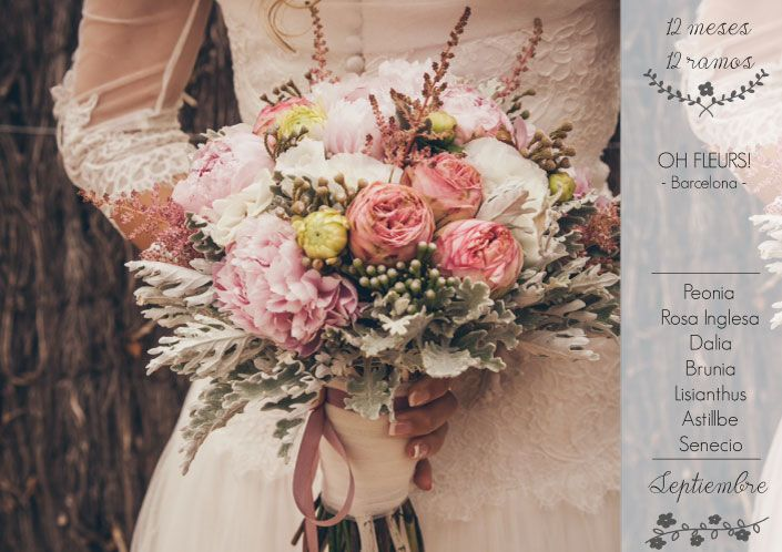 12 meses 12 ramos: Septiembre. Ramo de Oh Fleurs! con peonia, rosa inglesa, dalia, brunia, lisianthus, astillbe y senecio.