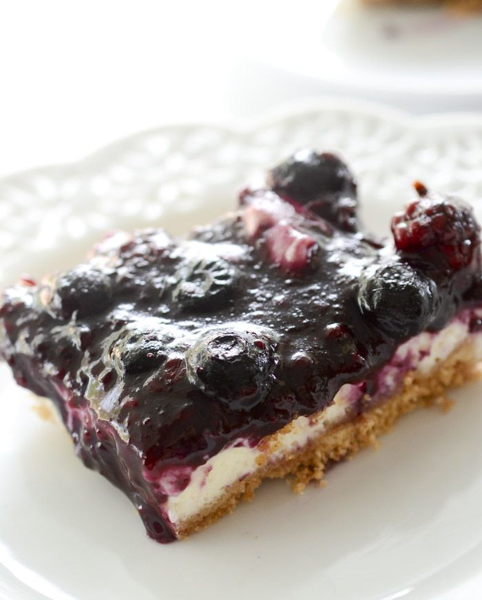 Skinny Lemon Blueberry Cheesecake Bars – Recipe Diaries - only 3 points per 1 bar!