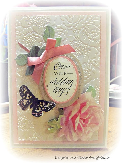 Patti Hamil as My Pieces of Time for Anna Griffin, wedding card, Feb. 2013 - love the embossing folder she used