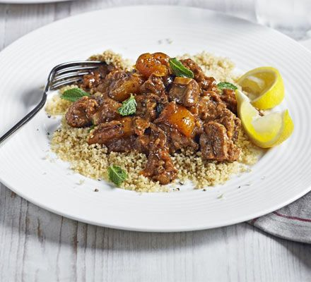 A fruity and warming Middle Eastern tagine to be served with couscous and herbs - a speedy casserole with plenty of flavour
