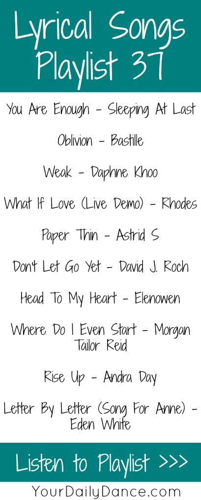 Lyrical songs for dancers...