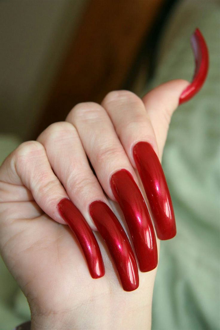 Best 25+ Long red nails ideas on Pinterest | Red nails ... - photo#24