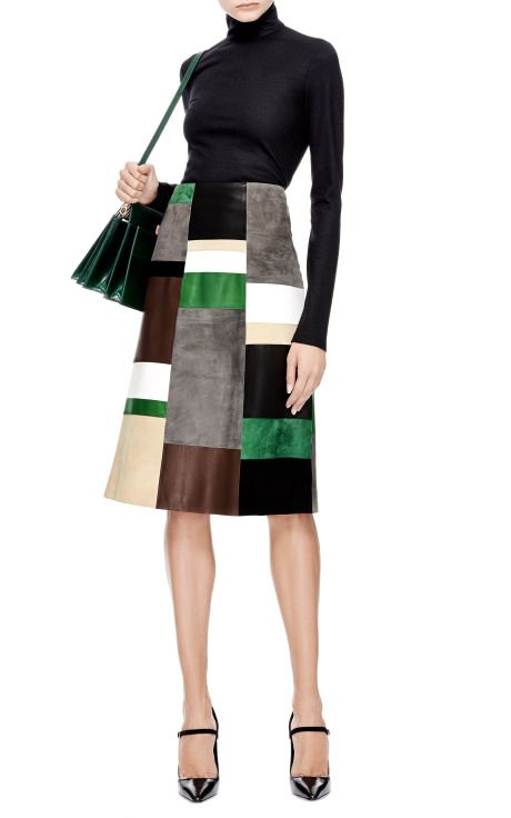 Patchwork Leather and Suede Skirt by Derek Lam - Moda Operandi