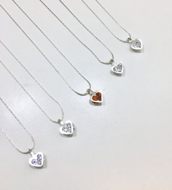 Sterling silver heart shaped necklace with by EveryLittleRing