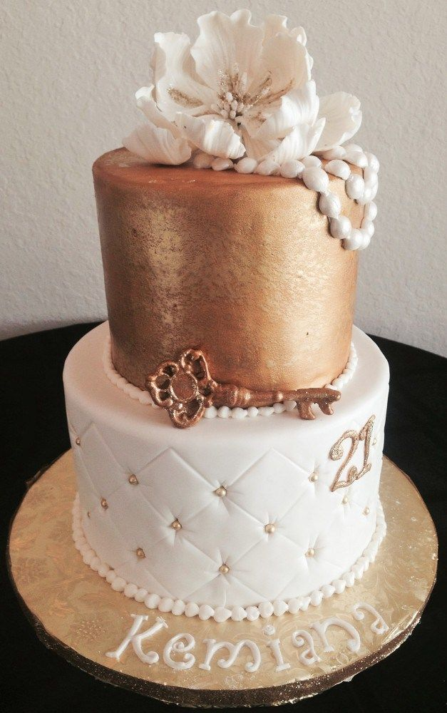 Birthday Cake Images Elegant : Elegant 21st Birthday Cake Fondant and creative cakes ...