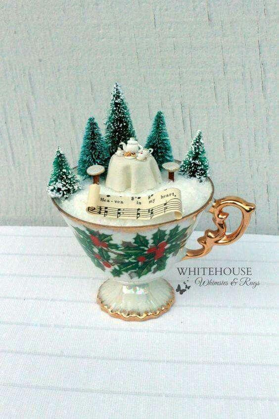 A Cup of Christmas Fairy Garden