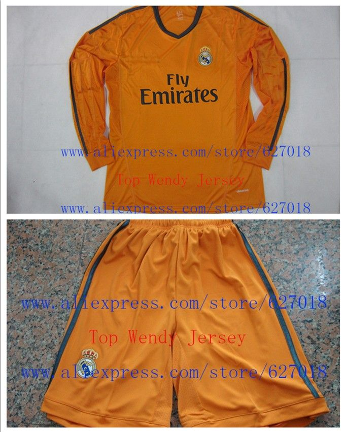 A+++ Real Madri Kit Long Sleeve Suit 14 Winter Thai Orange Madrid Soccer  Jersey Futbol Pants 5ff482120d19c