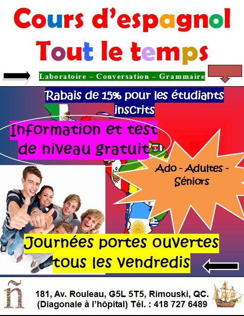 École de langues Nouveau Monde : Cours d'espagnol à Rimouski