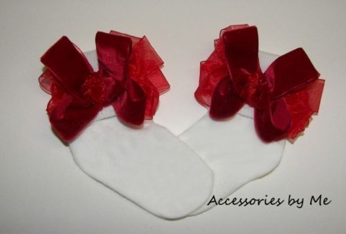 Velvet Organza Bow Socks Baby Girls Infant Fancy Holiday