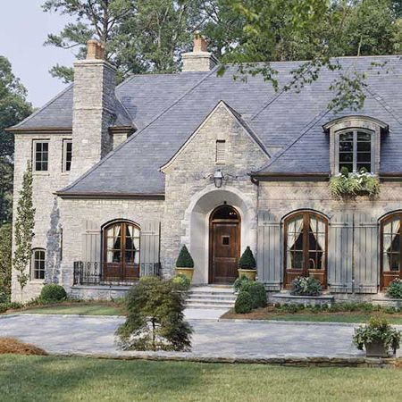 French country style home, I like!/  great example of what i want my exterior to look like.