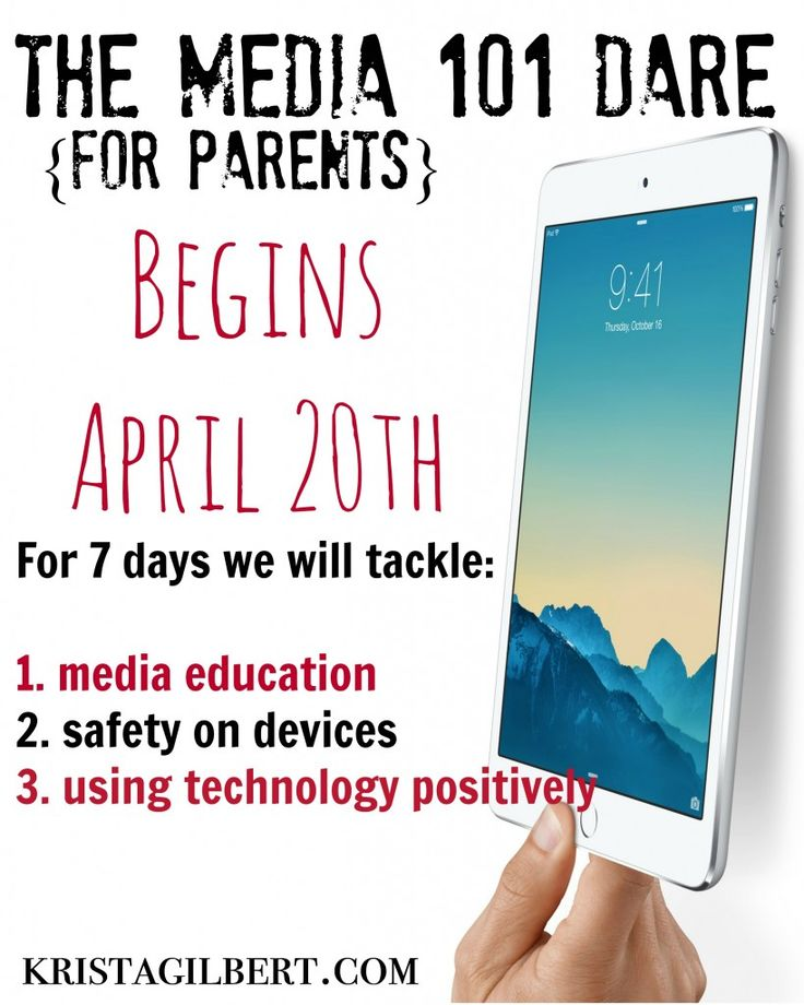 Do you ever feel overwhelmed by technology?  How do you know if your kids are safe on their devices or YOUR devices?  We will explore these questions and more.  Sign up for the Media 101 7-Day Dare for parents.