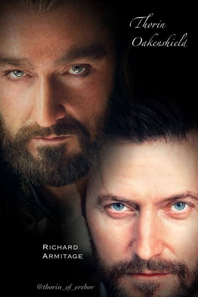 Richard/Thorin ~ See?  They're not that different...just bushy eyebrows and fuller beard (which is his anyway).  Oh, and I do believe Thorin is wearing mascara and eyeliner!  :-)