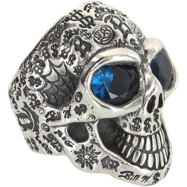 Pre-Owned Bill Wall Graffiti Master Skull Ring Silver Blue Stone BWL... ($2,495) ❤ liked on Polyvore featuring jewelry, rings, silver, blue stone ring, silver jewelry, stone rings, blue ring and wide-band rings
