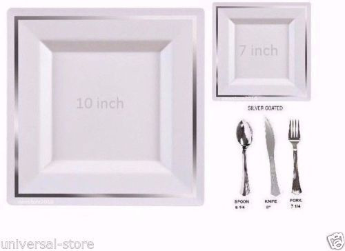 tableware set wedding party disposable plastic plates silverware square silver