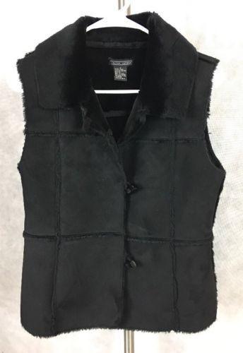 Lauren Hansen Black Faux Leather Vest S Patchwork. 424