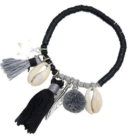https://www.goedkopesieraden.net/Elastische-armband-met-zwarte-kralen,-schelpjes-en-tassels