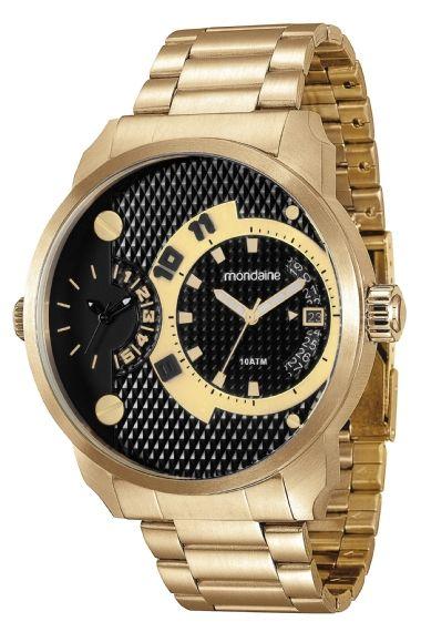 78527GPMVDA2 Relógio Masculino Dourado Mondaine Multifunção   Guest Club