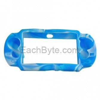 Soft Silicone Protective Case Cover for PlayStation Vita PSVITA - Camouflage White + Blue with