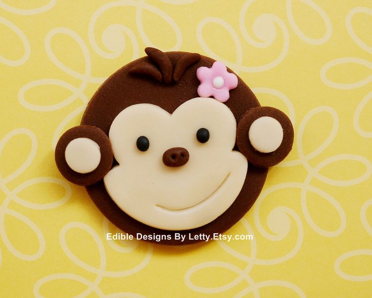monkey cupcakes   12 Edible Fondant Monkey Cupcake Toppers by EdibleDesignsByLetty