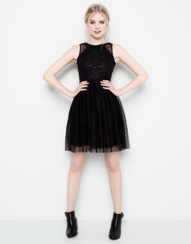 :SEQUINNED TULLE DRESS
