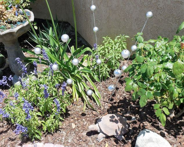gazing ball stakes, crafts, gardening, how to