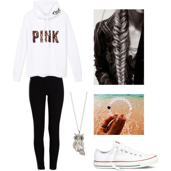 A fashion look from September 2015 featuring Victoria's Secret PINK sweatshirts, Pieces leggings and Converse sneakers. Browse and shop related looks.