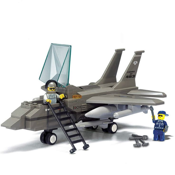 Sluban Military Air Force F15 Fighter Jet Army Plane DIY Model Building Blocks Bricks Toy Gift Compatible with Legoe Friends #Affiliate