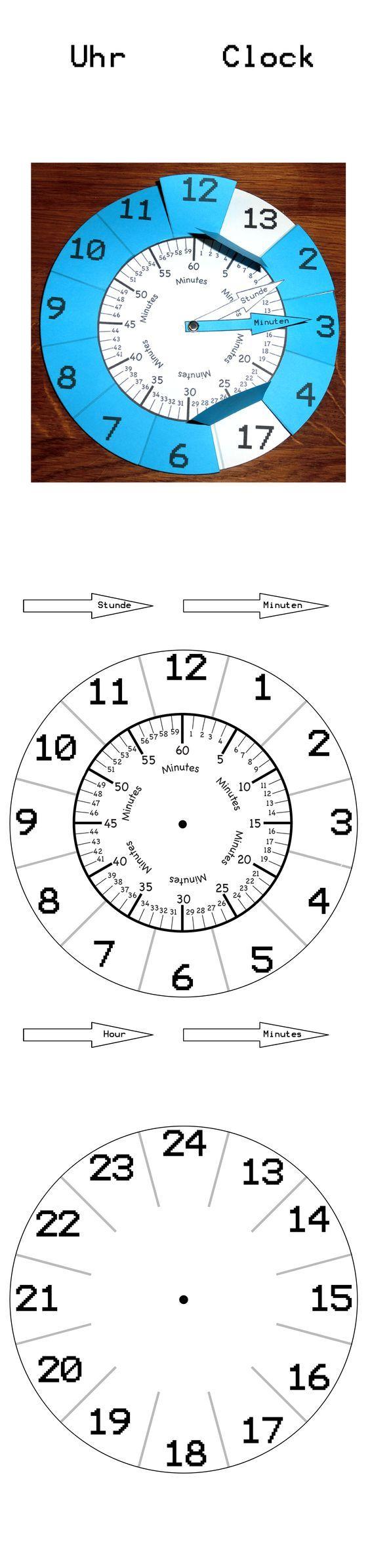 Uhr lernen, original Größe ist A4. Einfach Bild speichern und ausdrucken.: